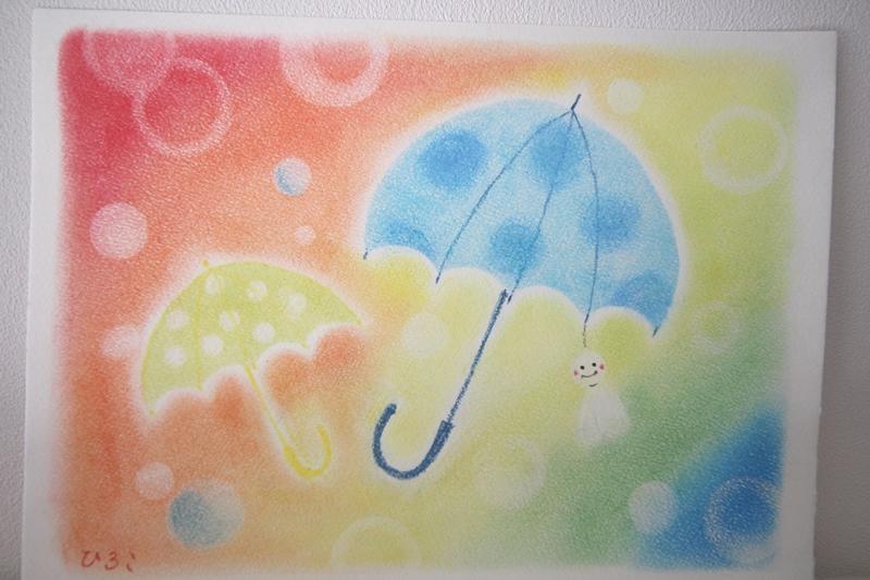 パステル画 色のね ironone 明日香 asuka アート 傘