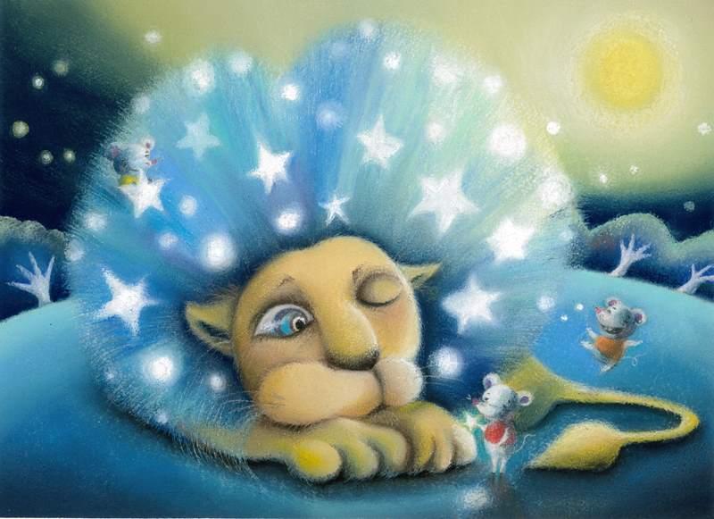 ライオン ネズミ 絵 イラスト アート パステル画 パステルアート明日香 色のね asuka ironone