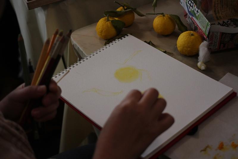 柚子 ゆず 正月 パステル画 デッサン スケッチ絵 パステルアート 色のね いろのね ironone 明日香 asuka 生徒作品