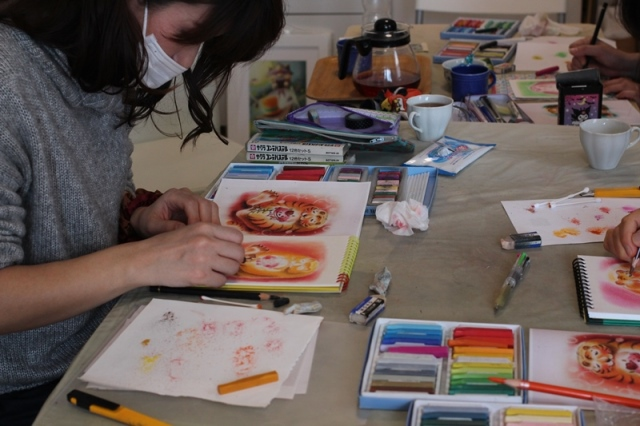 パステル画 パステルアート 節分 トラ 鬼 2月 明日香 色のね メルヘン いろのね ironone イラスト 絵 アート