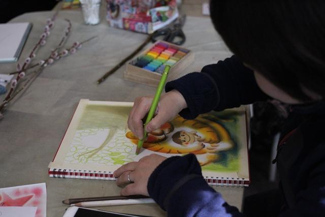 絵画教室 枚方 おひなさま ひな祭りパステル画 デッサン スケッチ 絵 パステルアート 色のね いろのね ironone 明日香