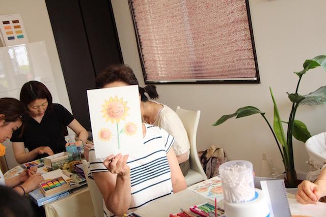絵画教室 枚方 ひまわり ヒマワリ 夏 海 パステル画 イラスト スケッチ 絵 パステルアート 色のね 沖明日香