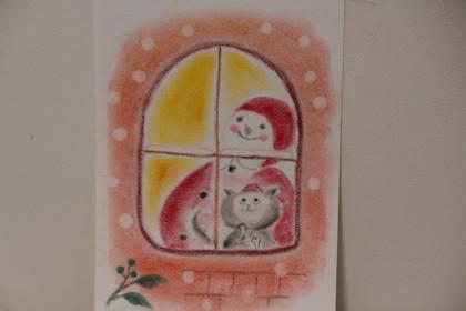 サンタクロース 冬 絵画教室 枚方 パステル画 イラスト スケッチ 絵 パステルアート 色のね 沖明日香