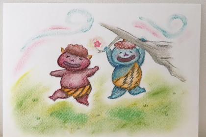 節分 鬼 2月 沖明日香 いろのね 色のね 絵 アート パステルアート パステル画 枚方 お絵描き教室 絵画教室 かわいい やさしい
