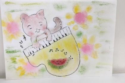 絵 パステル画 パステルアート デッサン イラスト ドローイング 色のね いろのね ironone 沖明日香 絵画教室 絵画造形教室 こども工作 おえかき 関西 大阪 枚方 八幡 猫 ピアノ