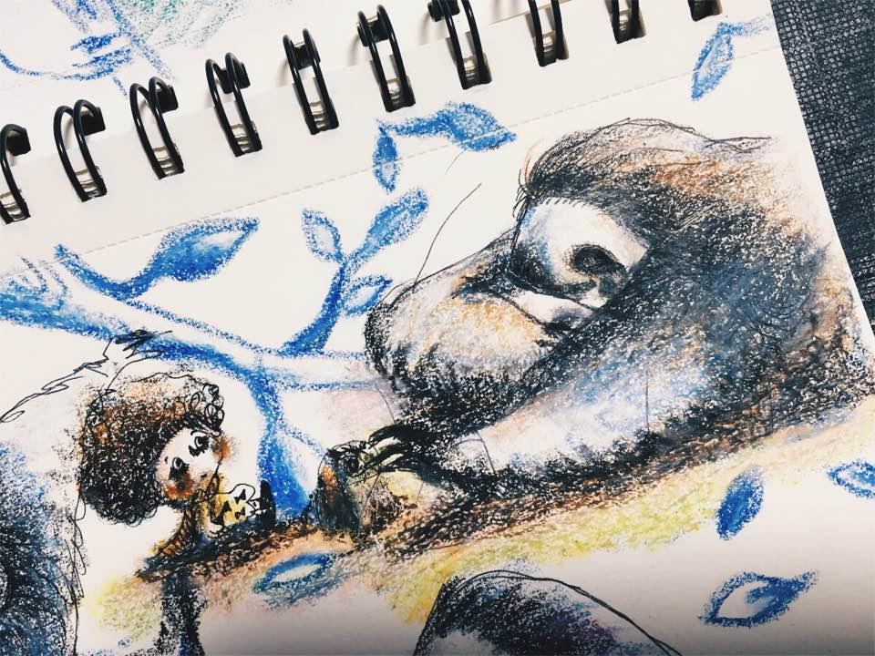 沖明日香 おきあすか okiasuka asukaoki ナマケモノ 秋 イラスト 絵 アート
