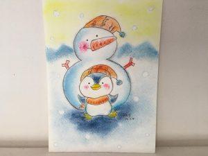 クリスマス 冬 ペンギン 雪だるま かわいい 絵 パステル画 パステルアート デッサン イラスト ドローイング 色のね いろのね ironone 沖明日香 絵画教室 絵画造形教室 こども工作 おえかき 関西 大阪 枚方 八幡