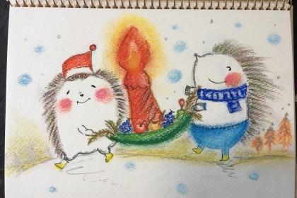 クリスマス 冬 ぶた かわいい 絵 パステル画 パステルアート デッサン イラスト ドローイング 色のね いろのね ironone 沖明日香 絵画教室 絵画造形教室 こども工作 おえかき 関西 大阪 枚方 八幡