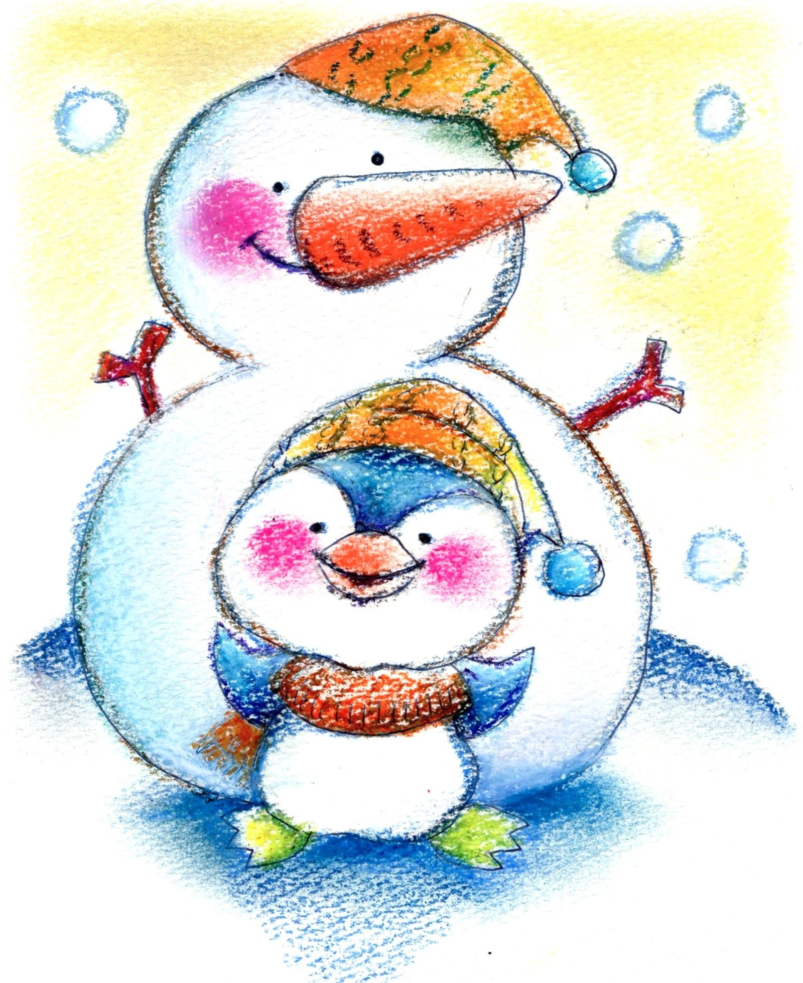 雪だるま ペンギン 冬 かわいい 絵 パステル画 パステルアート デッサン イラスト ドローイング 色のね いろのね ironone 沖明日香 絵画教室 絵画造形教室 こども工作 おえかき 関西 大阪 枚方 八幡