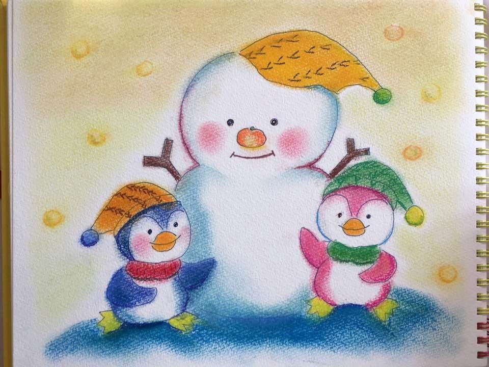 雪だるま ペンギン 冬 雪 かわいい 絵 パステル画 パステルアート デッサン イラスト ドローイング 色のね いろのね ironone 沖明日香 絵画教室 絵画造形教室 こども工作 おえかき 関西 大阪 枚方 八幡