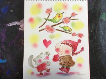 春 うぐいす ピンク かわいい 絵 パステル画 パステルアート デッサン イラスト ドローイング 色のね いろのね ironone 沖明日香 絵画教室 絵画造形教室 こども工作 おえかき 関西 大阪 枚方 八幡