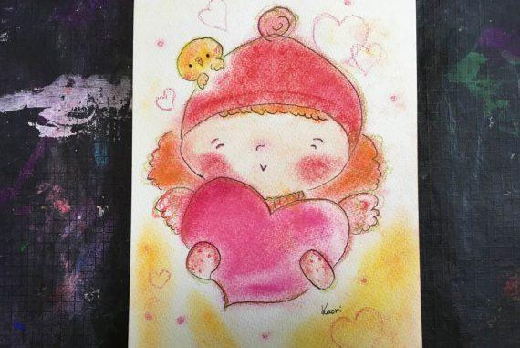 冬 バレンタイン ピンク かわいい 絵 パステル画 パステルアート デッサン イラスト ドローイング 色のね いろのね ironone 沖明日香 絵画教室 絵画造形教室 こども工作 おえかき 関西 大阪 枚方 八幡