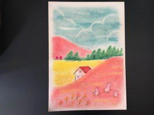 春 風景 ピンク かわいい 絵 パステル画 パステルアート デッサン イラスト ドローイング 色のね いろのね ironone 沖明日香 絵画教室 絵画造形教室 こども工作 おえかき 関西 大阪 枚方 八幡