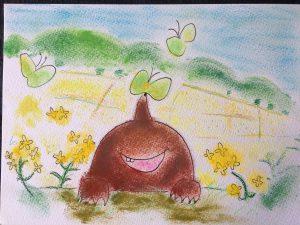 春 モグラ かわいい 絵 パステル画 パステルアート デッサン イラスト ドローイング 色のね いろのね ironone 沖明日香 絵画教室 絵画造形教室 こども工作 おえかき 関西 大阪 枚方 八幡