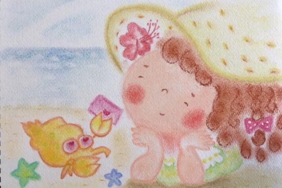 夏 女の子 海 かわいい 絵 パステル画 パステルアート デッサン イラスト ドローイング 色のね いろのね ironone 沖明日香 絵画教室 絵画造形教室 こども工作 おえかき 関西 大阪 枚方 八幡