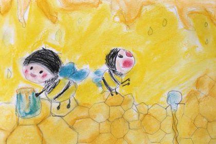 春 みつばち 黄色 かわいい 絵 パステル画 パステルアート デッサン イラスト ドローイング 色のね いろのね ironone 沖明日香 絵画教室 絵画造形教室 こども工作 おえかき 関西 大阪 枚方 八幡